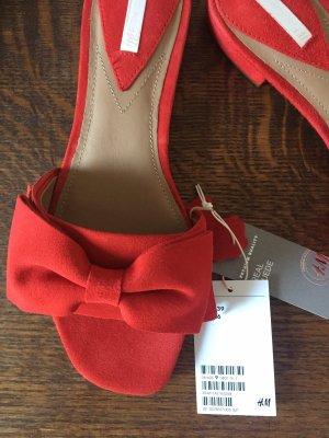 Orange-Rote Leder Pantolette 39 von H&M Premium