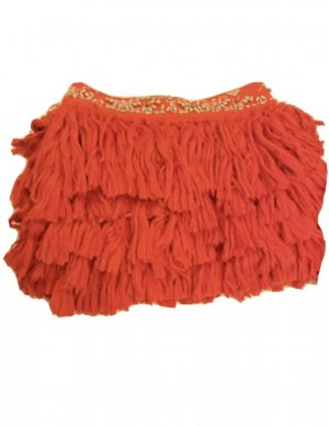 "Orange roter ""Designer Rock""  Anna Dello Russo for H&M, Fransen Festival kurz mini tailliert  boho"