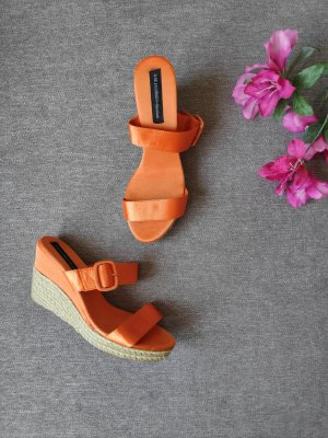 Orange Satin wedges Sandalen Ilse Jacobsen Größe 39
