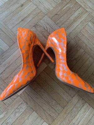 Orange schimmernde Pumps/Heels - Größe 37 - Spitze Schuhform