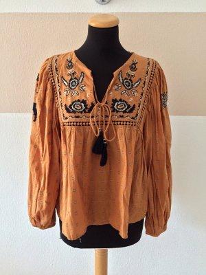 Orange senf Stickerei Bluse von Zara, Gr. M (NEU)