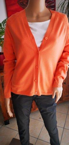 orange Strickjacke Cardigan Wolle Gr M