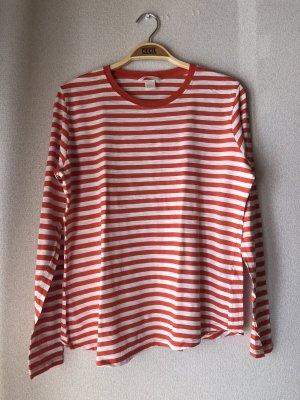 Orange/weiß gestreiftes Langarmshirt