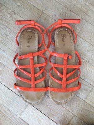 Zara Sandalias de tiras naranja-naranja neón Imitación de cuero