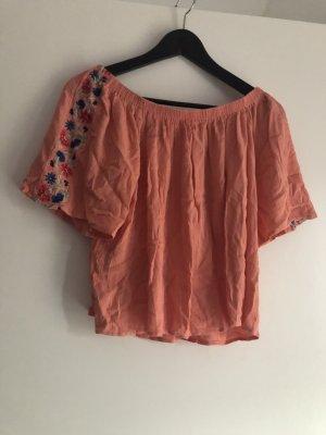 orangene Off-Shoulder Bluse