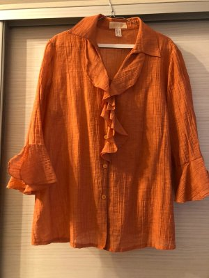 Ruche blouse oranje-donker oranje Gemengd weefsel