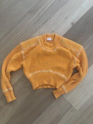 H&M Studio Grof gebreide trui oranje-wit Katoen
