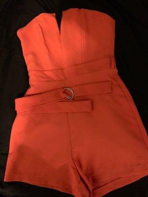 Orangener Jumpsuit mit Gürtel Gr.36/S
