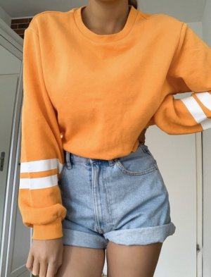 Sweatshirt orange-blanc