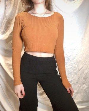 Orangenes Bauchfreies Tshirt langärmlig von Monki gerippt