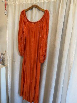 Sukienka boho pomarańczowy-złoto