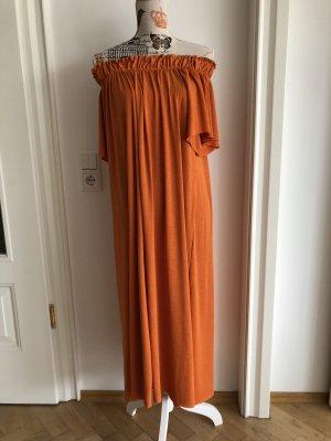 orangenes Kleid - zara - S - carmenausschnitt