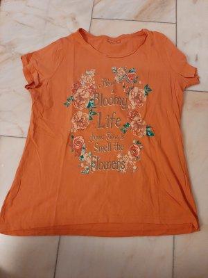 Janina Shirt met print lichtgrijs-oranje