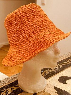 Cappello a falde larghe arancio neon