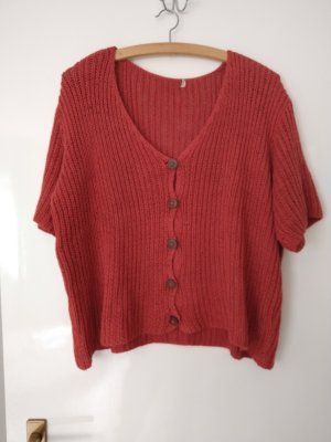 Maas Short Sleeve Knitted Jacket red-bright red cotton