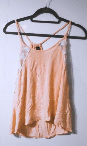 Oranges top Aprikose sprikot spitze weiß beige oberteil bluse hemd shirt tshirt aprikot