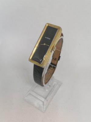 Ordiam Horloge met lederen riempje zwart-goud