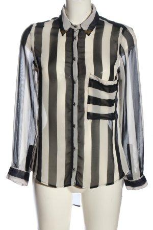 Orfeo negro Transparenz-Bluse schwarz-weiß Streifenmuster Casual-Look