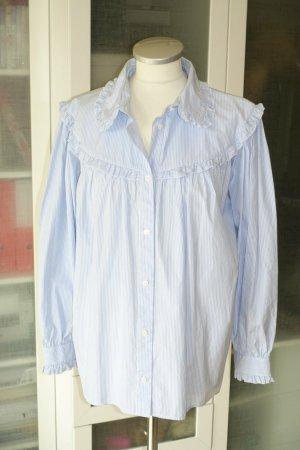 Alexa Chung Blouse à manches longues blanc-bleu clair coton