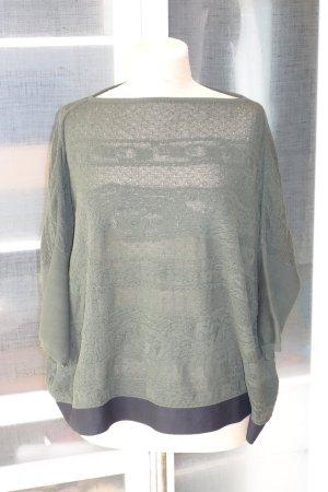 Org. ARCHIVIO B oversized Strick-Pullover mit Musterung in dunkelgrün Gr.M