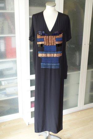 Org. AVELON Maxi shirt dress aus Seide mit handbestickten Applikationen Gr.38 Neu+Etikett