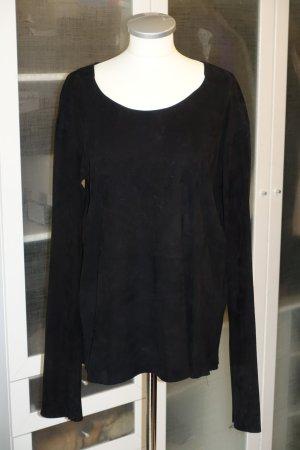 Org. BALMAIN Pullover aus Veloursleder in schwarz Gr.38