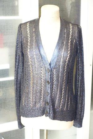 BCBG Maxazria Szydełkowany sweter ciemnoniebieski