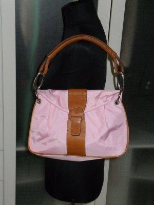 Org. BOGNER Nylon/Leder Tasche rosa/braun wie neu