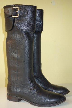 Org. BOSS Hugo Boss Stiefel aus Echtleder mit seitlichen Metallspangen Gr.38,5