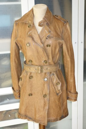 Org. BURBERRY Brit Leder Trenchcoat in braun vintage Look Gr.40