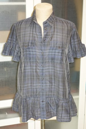 Org. BURBERRY London Bluse mit Karomuster und Schößchen Details Gr.S