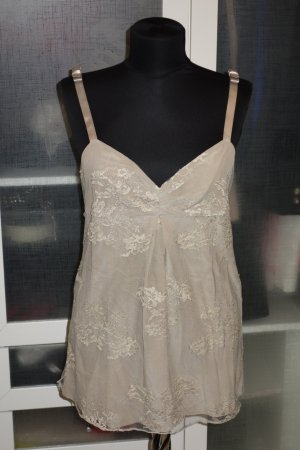 Burberry Lace Top sand brown-gold-colored silk