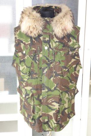 Org.CAMOUFLAGE COUTURE oversized Camouflage Weste mit Pelz und Swarovskisteinen one size