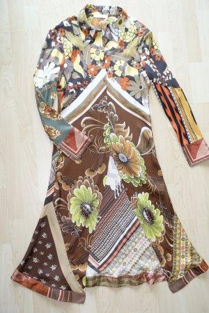Org. CHLOE Midi-Hemdblusenkleid aus Seide mit multicolour Print Gr.42 wie neu
