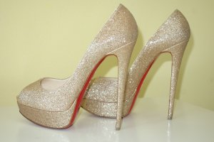 Org. CHRISTIAN LOUBOUTIN Lady Peep 150 in gold Glitter Gr. 40
