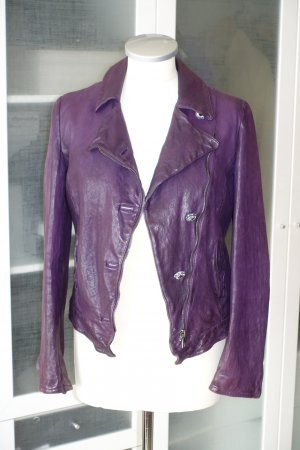 Dolce & Gabbana Veste en cuir violet foncé cuir