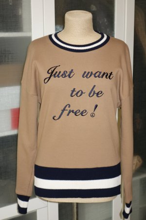 "Org. DONDUP Sweatshirt in camel ""Just want to be free!"" Gr.38/40"