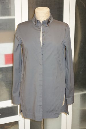 Org. DOROTHEE SCHUMACHER long Bluse in grau mit Applikationen am Kragen Gr.36