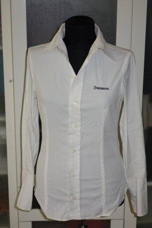 Org. DSQUARED Bluse in weiß mit Logostickerei Gr.38