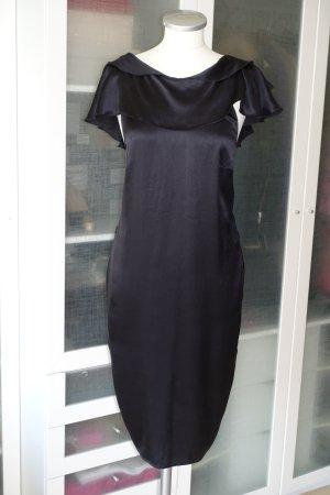 Org. DSQUARED Kleid aus Seide mit Volants in schwarz Gr.36