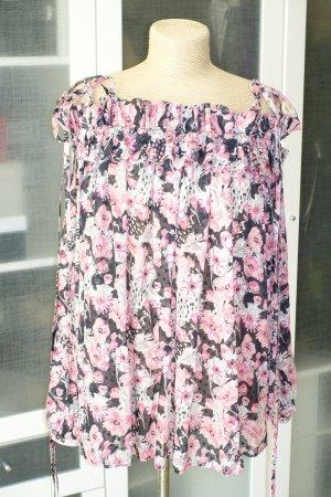 Org. EMANUEL UNGARO Carmen-Bluse mit floralem Print Seide Gr.40