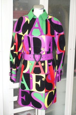 Org. ESCADA Runway Couture Patchwork Leder-Trenchcoat in multicolour Logo-Muster Gr.38 Neu+Etikett