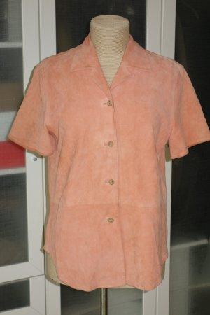 Org. ESCADA Sport vintage Kurzarm-Lederhemd aus Veloursleder in apricot Gr.40