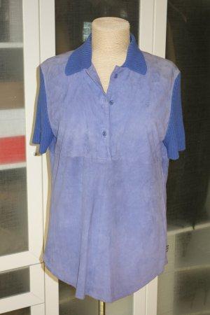 Org. ESCADA Sport vintage Leder-Poloshirt mit gestrickten Details in blauviolett/dunkelblau Gr.M