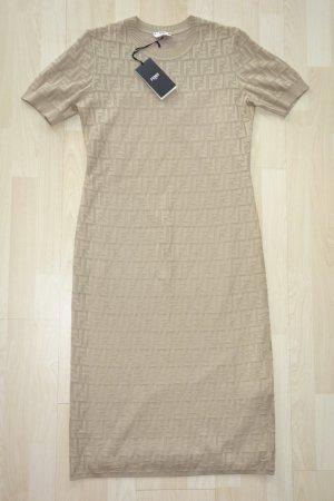 Org. FENDI Midi-Strickkleid in beige mit FF Muster NEU+Etikett Gr.40