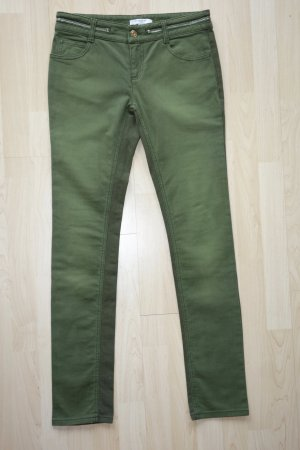 Org. GIVENCHY Biker Jeans in grün mit Zip-Detail slim fit Gr.36