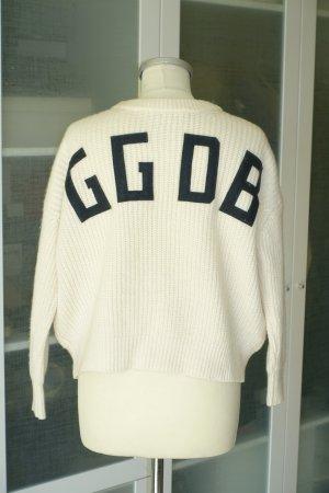 Org. GOLDEN GOOSE Pullover in creme mit GGDB Logo am Rücken Gr.S