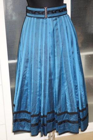 Org. HELENE STRAßER vintage Midi Seiden-Rock mit Drapierungen und Spitze blau Gr.36