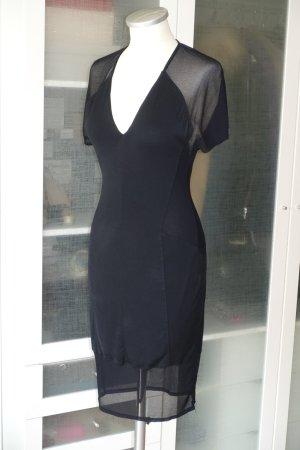 Org. HELMUT LANG Jersey Kleid mit Mesh-Einsätzen in schwarz Gr.XS