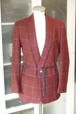 Org. HIRONAE Paris Woll-Blazer mit Leder-Bindegürtel in rost Gr.L Neu+Etikett